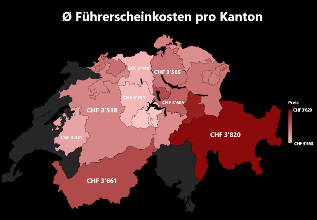 In Zürich, Basel, Bern, Luzern, Wintherthur oder St. Gallen - In jeder Stadt und in jedem Kanton kostet der Führerschein unterschiedlich viel