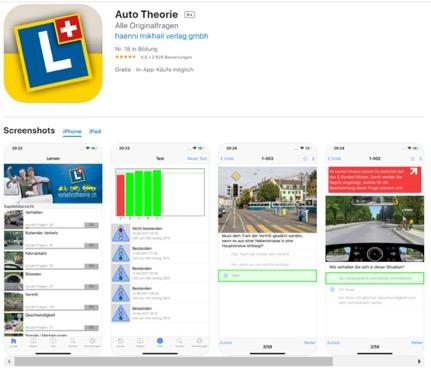 Auto Theorie - Theorielernen Schweiz für die Theorieprüfung für den Führerschein